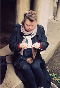 Lisa Daehlin Knitting in the Grotto of Eglise de Notre Dame NYC