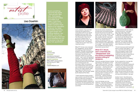 Artist Profile of Lisa Daehlin - Article published by Get Creative Magazine, May 2008